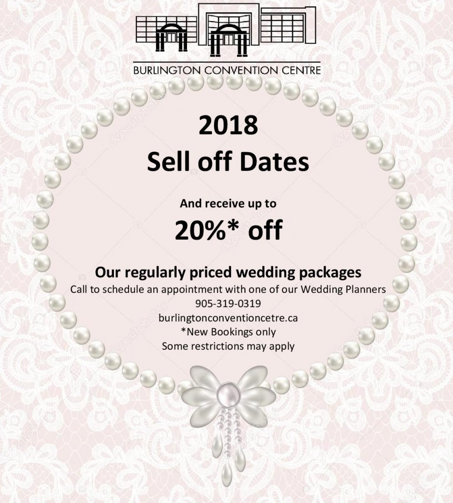 wedding venue 2018 sell-offs oakville burlington