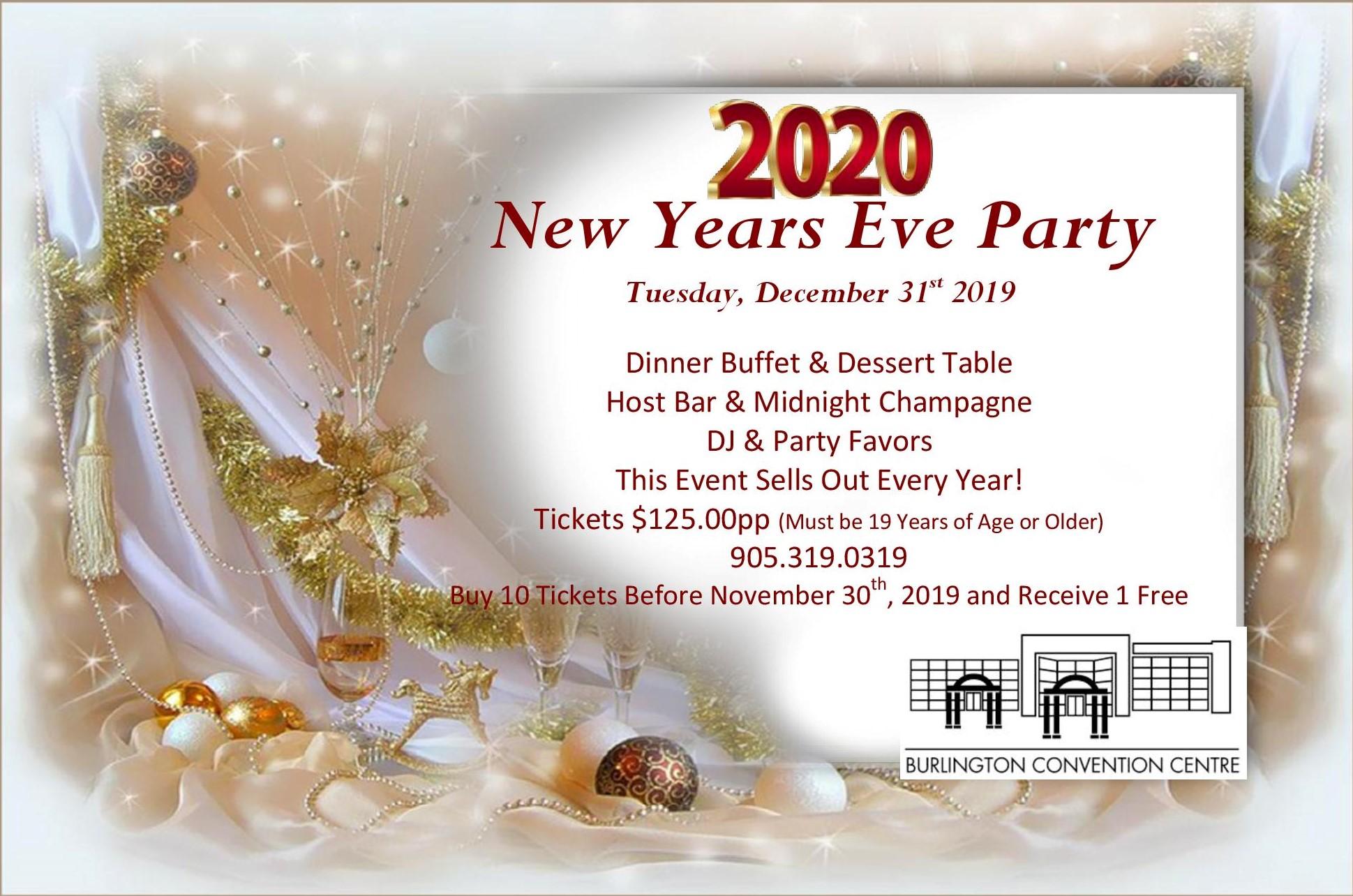 new years party gala 2020 in burlington oakville hamilton