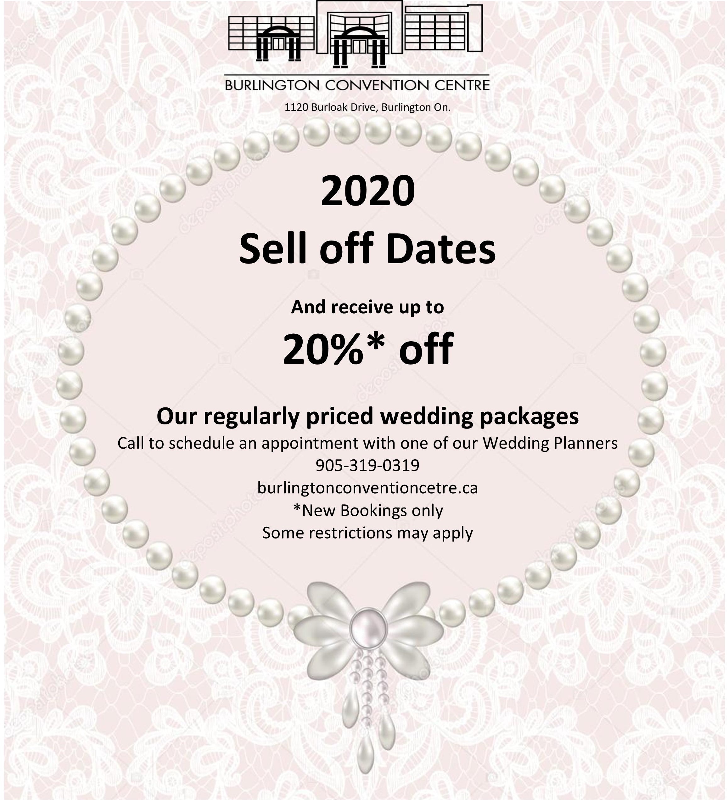 wedding venue sell-offs for 2020 in burlington oakville hamilton